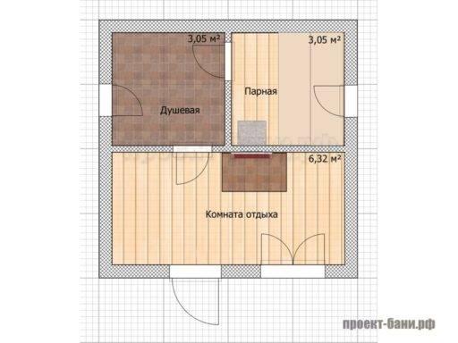 Баня из бруса проект 4х4 классическая