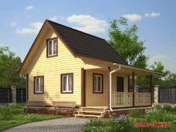 Проекты бань с мансардой с двускатной крышей